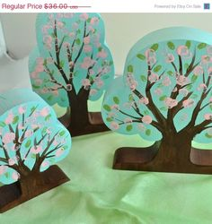 Wooden Toy, Cherry Blossom Trees (3), Landscape Play / Nature Table Waldorf Toy