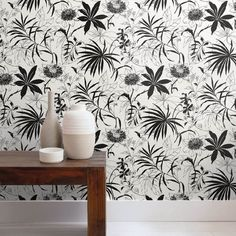 Black and White Tropical Peel and Stick Wallpaper from @NextWall. $39.99 #peelandstickwallpaper #removablewallpaper #tropicalwallpaper #DIY #BuyAmericanMade #blackandwhitewallpaper #floralwallpaper Removable Wallpaper, Tropical Wallpaper, Wallpaper, Peel And Stick Wallpaper, Printed Shower Curtain, Floral Wallpaper, Black And White Wallpaper