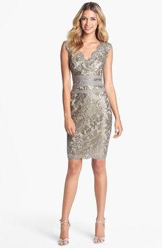 Tadashi Shoji Embellished Metallic Lace Sheath Dress   Nordstrom Smoked Pearl Sparkling Bridesmaid Dress