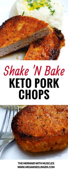 This easy shake'N bake keto pork chop recipe is a copycat from everyones childhood favorite flavored bread crumb-style coating for pork, but with a Keto friendly twist. We used a low carb bread crumb substitute that I've recently been using pretty frequently on my keto diet plan #keto #pork #ketodiet #ketorecipes #dinner #easyrecipe #family