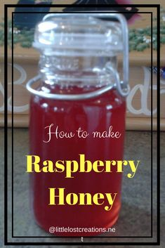 Learn how to make your own raspberry honey. Great to put on bread, scones, ice c… Learn how to make your own raspberry honey. Great to put on bread, scones, ice cream and anything else you can come up. Learn how to make your own. Simple and fun! Real Food Recipes, Dessert Recipes, Yummy Food, Dessert Bread, Desserts, Fruit Dessert, Jelly Recipes, Dessert Bars, Raspberry Recipes