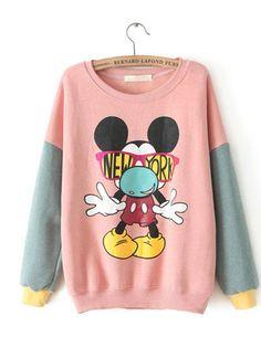 Round Neck Long Sleeve Print Straight Cute Common Sweatshirt