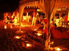 outdoor wedding reception on the beach