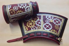 Leather Steampunk Cuff Hand tooled by EidolonLeather on Etsy, $250.00