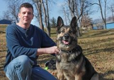 """Veterans Reunited in Retirement""  War veteran Patrick Hahnlen with his retired military dog Candy in Pearisburg Feb. 18,2012  Matt Gentry 