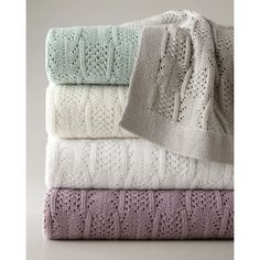 SFERRA Emma Pointelle Throw (735 SAR) ❤ liked on Polyvore featuring home, bed & bath, bedding, blankets, aqua, cotton throw blanket, cotton bedding, sferra throw, aqua throw blanket and sferra