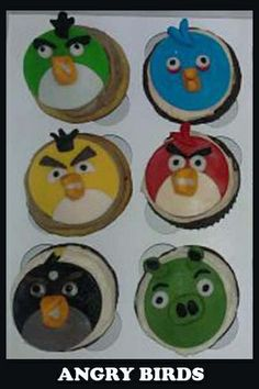 Angry Birds Cakes and Cupcakes!   How to make Fondant here.