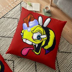 Independent designs, custom printed when you order @christmasbee #christmasbee #floorpillow Home Decor Items, Pillow Design, Top Artists, Floor Pillows, Bee, Vibrant, Cushions, Flooring, Printed