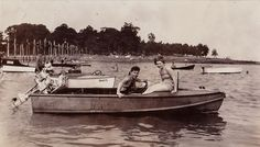 Old Antique Vintage Photograph Man & Woman Wearing Bathing Suits in Boat on Lake