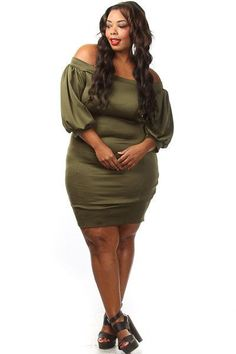 awesome Plus Size Poofy Sleeve Midi Dress  Fashion Check more at http://fashionie.top/pin/9100/