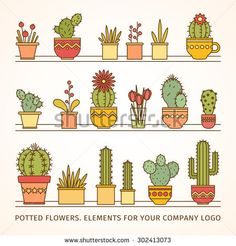 linear design, potted flowers. elements of a corporate logo. big vector set