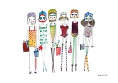 Girls art, Girls print, Retro art print, retro fashion illustration, retro girls, summer art, quirky girls, children's art
