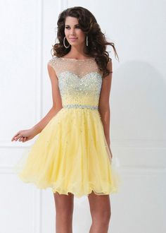2014 Yellow Beaded Short Mini Party Dress Homecoming Prom Party Cocktail Dress #Shortskirt