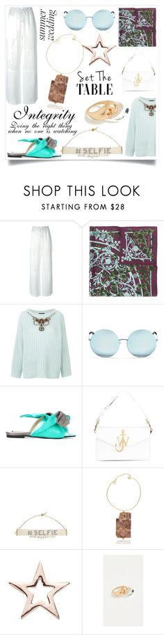 """""""Without having to speak"""" by emmamegan-5678 ❤ liked on Polyvore featuring T By Alexander Wang, Versace, Matthew Williamson, J.W. Anderson, Bijoux de Famille, Maggie Maggi, Loquet and Madewell"""