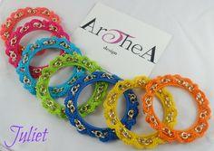 ♥ JULIET ♥ JULIET ♥ Colori: arancio - turchese - corallo - verde - giallo - fuxia - blu ♥ Bracciale bangles rigido in cotone italiano crochet, catena e finiture metallo dorato Pz. 10 € + spese spediz. -------------------------Per qualsiasi richiesta o informazione invia una mail a : info@artheadesign.it