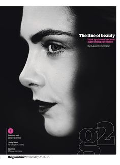 Guardian g2 cover: #brows #editorialdesign #newspaperdesign #graphicdesign #design #theguardian