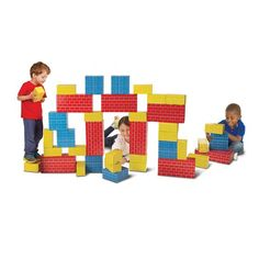 Melissa & Doug Jumbo Extra-Thick Cardboard Building Blocks - 40 Blocks in 3 Sizes Toddler Toys, Toddler Activities, Kids Toys, Baby Toys, Building For Kids, Building Toys, Cardboard Building Blocks, Puzzle Shop, Non Toy Gifts