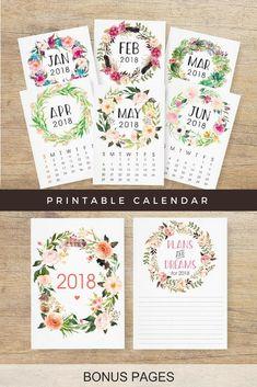 Floral wreath printable calendar. Instant download #ad #etsyfinds