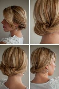 Low, side swept updo