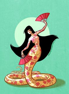 Fourth day of the 30 day monster girl challenge!! My tattooed naga. She loves to dance.