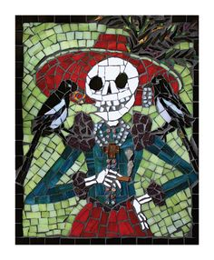 Maggie Magpie - Limited Edition Print of 50 - Skeleton with two magpies - Lucky superstition