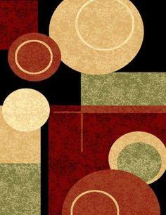 Black Cream X Green Rust Burgundy Abstract Area