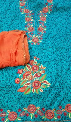 Machine Embroidered Suit in Blue Color, With Contrast Orange Bottom,With Pure Chinon Chiffon Dupatta