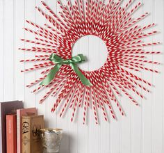 mid century modern christmas wreath - Peppermint straws!