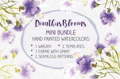 Watercolor mini bundle: Dianthus by Lolly's Lane Shoppe on @creativemarket