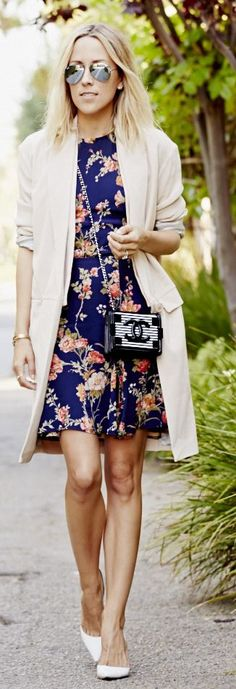 Reformation Navy Flirty Floral Swingy Fit And Flare Mini Dress by Damsel In Dior