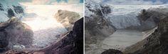 Ľadovec v Peru v júli 1978 vs. v júli 2011. (Foto: NASA)