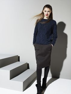 READY TO FISH Tulipa Blue Melange Sweater and Salvia Skirt | La Luce www.shoplaluce.com