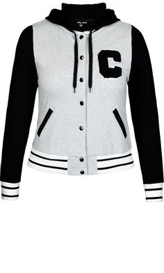 2ba197dfdd4 City Chic - VARSITY HOODIE - Women s Plus Size Fashion Flattering Outfits