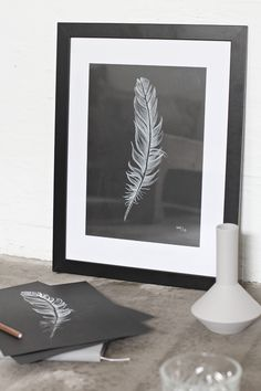 Those of you who follow me on Instagram, might noticed that I was drawing a feather yesterday. I have for a long time wanted a feather drawing on my wal...