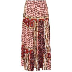 Gypsy Style Skirt by Glamorous Petite (58 CAD) ❤ liked on Polyvore featuring skirts, multi, rayon skirt, gypsy skirt, aztec skirt, red print skirt and red skirt