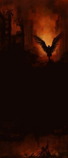 Destiel fanart, Cas pulling dean from Hell by Bamf Castiel.
