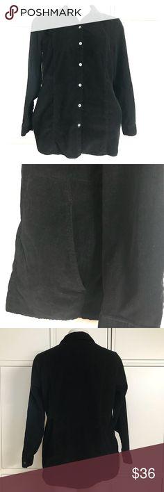 J. Jill Shirt Jacket (F) Black Corduroy style shirt jacket with pockets. J. Jill Jackets & Coats