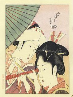 Beauty With Telescope by Katsushika Hokusai (1760-1849, Japan) ARTMEMO - Deux jeunes femmes et une lunette de vue