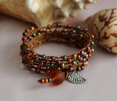 Crochet Bracelet - Crochet Necklace - Crochet Anklet - Jewel Tones Beaded Crochet Wrap - 5x Wrap - Crochet Jewelry - Boho Beach Chic