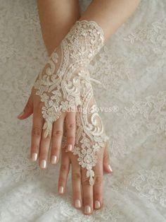 WEDDINGGloves Champagne Wedding Gloves, lace gloves, Fingerless Gloves
