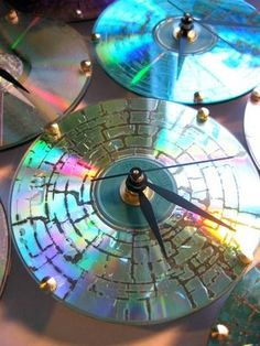 CD undergoes a heating and cooling process to create the unique iridescent cracked effect on the surface