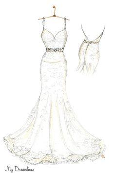 Wedding dress sketch created by Dreamlines. http://www.mydreamlines.com/
