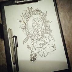 Kuka haluu tän tatskan nahkaansa laittaa yksärii? :) #mirrortattoo #skulltattoo #rosetattoo #tattoodesign #tattooidea #drawingoftheday