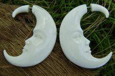 Fake Gauge Earrings Hand Craved Natural  Bone Split by ANELAJADE, $18.00