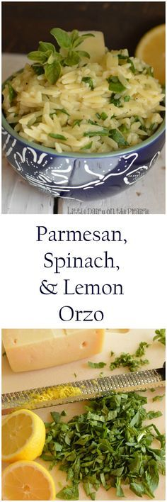 Simple parmesan, spinach, and lemon orzo Parmesan, Spinach, and Orzo is a light and refreshing side dish your whole family will fall in love with! Orzo Recipes, Side Dish Recipes, Easy Dinner Recipes, Vegetarian Recipes, Cooking Recipes, Healthy Recipes, Dinner Ideas, Fodmap Recipes, Top Recipes