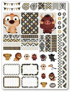 Lion Friends Decorating Kit / Weekly Spread Planner Stickers for Erin Condren… Free Planner, Planner Pages, Happy Planner, Planners Like Erin Condren, Erin Condren Life Planner, Disney Diy, Ed Wallpaper, Doodle Drawing, Disney Planner