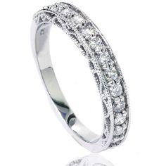 1/2CT Diamond Vintage Ring Hand Engraved Milgrain by Pompeii3