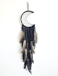 Crescent moon dreamcatcher custom order by fujiyamamamamai, $75.00