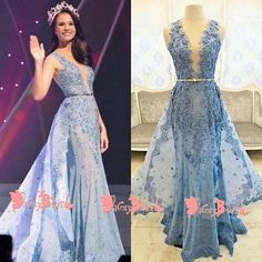 Fashion Blue Lace With Beading Sleeveless Split Neck Illusion Back A-line Long Prom Dresses. DB1048 #prom #promdresses #longpromdresses #eveningdresses #cheappromdresses #party #2019promdresses