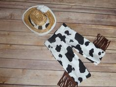 Cow Print Western Pant Hat and Matching Faux by sewsueprops, $59.00